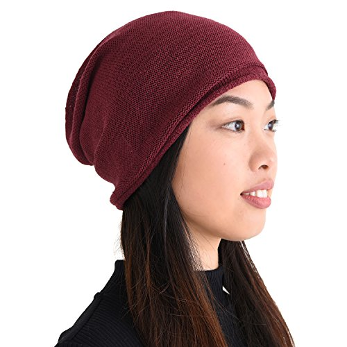 CHARM Silk Beanie Hat for Men and Women - Slouchy Oversized Beanies Cap Chemo Hat Perfect for Sensitive Skin Enji Burgundy