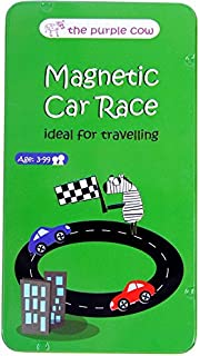 The Purple Cow Magnetic Travel Car Race Game - Car Games, Airplane Games & Quiet Games. Game Box for Kids & Adults. Fun Car Game Where You Get to Race Each Other Around A Track