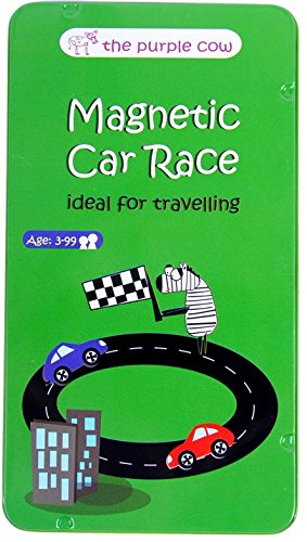 The Purple Cow Magnetic Travel Car Race Game - Car Games, Airplane Games & Quiet Games. Game Box for Kids & Adults. Fun Car Game Where You Get to Race Each Other Around A Track (The Best Restaurant Games)