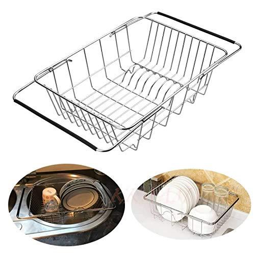KKAAMYND - Organizador sobre Fregadero, bañera, escurridor de Platos, Cesta Extensible para Platos, Cuenco, Taza, Toallas, vajilla, Cuchara, Tenedor, Frutas, Verduras preparadas, secador de Acero