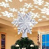 Charlemain Luz LED para Árbol de Navidad con Proyector LED de Copo de Nieve Giratorio, Estrella de Árbol Navidad Plateado Iluminado, Decoración Adornos Copa del árbol de Navidad, Enchufe Alimentado