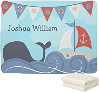 UOOPOO Personalized Baby Name Blanket - Nautical Sailboat Beach Ocean Whale - 30 X 40 - Fleece Blanket Throw Blanket- Baby Birth Announcement Gifts