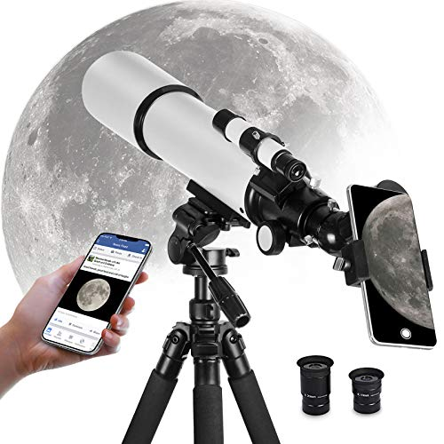 Telescope for Adults Kids Astronomy Beginners, 80mm Aperture 500mm AZ Mount, Astronomical Refractor Travel Telescope with Tripod and Phone Adapter to Observe Moon and Planet