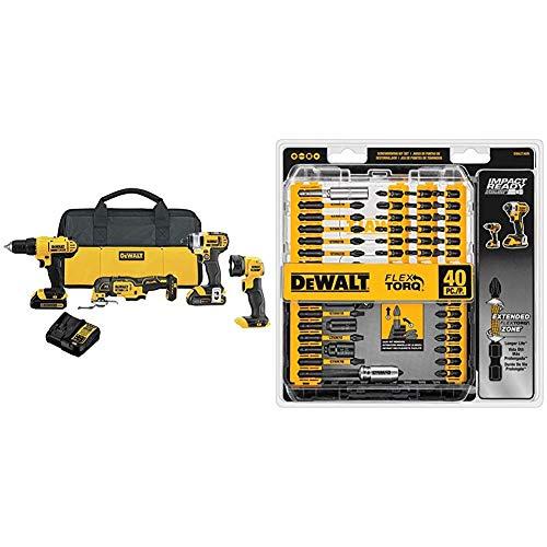 DEWALT 20V MAX Cordless Drill Combo Kit, 4-Tool (DCK444C2) & Screwdriver Bit Set, Impact Ready, FlexTorq, 40-Piece (DWA2T40IR), Black/Silver Impack Ready FlexTorq Screw Driving Set, 40-Piece