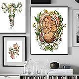 HUANGXLL Póster de bebé Pintura anatómica y botánica Vagina Vulva Flores Pinturas botánicas Impresión en Lienzo Pintura de educación corporal-50x70cm-30x45cmx2-Sin Marco