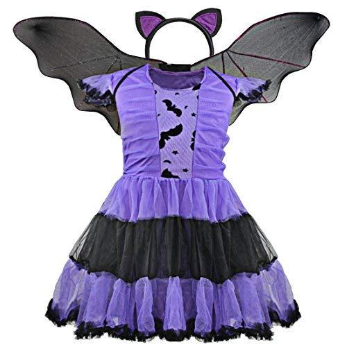 IEFIEL Fille Halloween Déguisement Carnaval Chauve-Souris Robe + Serré-tête + L' Ailes Enfant Filles 3-9 Ans Violet 7-8 Ans