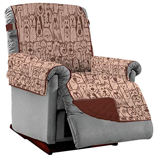 SOFA SHIELD Original Patent Pending Reversible Large Recliner Protector, Seat Width to 28 Inch, Furniture Slipcover, 2 Inch Strap, Reclining Chair Slip Cover Throw for Pets, Recliner, Dog Chocolate
