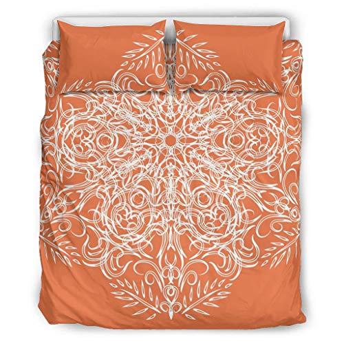 O2ECH-8 Orange Mandala Retro 3-Piece Bedding Set Pillowcases and Pillowcases - Soft and Comfortable Bohemian Bedding Sets, White, 229x229cm