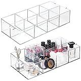 mDesign Juego de 2 organizadores de maquillaje con 8 apartados – Caja con compartimentos para guardar cosméticos – Expositor de maquillaje para lavabo o cómoda para pintaúñas y más – transparente