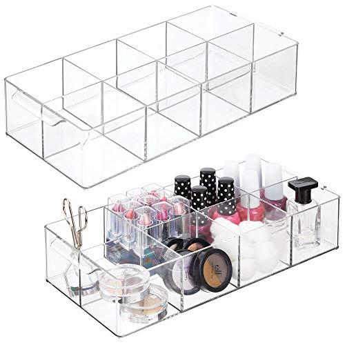 mDesign 2er-Set Kosmetik Organizer – dekorative Box mit 8 Fächern zur Kosmetikaufbewahrung – praktische Ablage für Nagellack, Lippenstift & Co. auf Waschtisch oder Kommode – durchsichtig