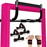 Duorime Pull up Bar for Doorway Professional Strength Training Pull-up Bars with Pushup Bar & Wrist Wrap Set for Home Gym Exercise, Pullup Chin up Bar No Screws Thickened Steel 400LBS