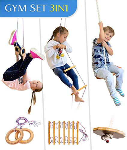 Jungle Gym Kids Play Set – Indoor Playground for Childrens 3-9 y.o. – Gymnastic kit: Disk Swing,...