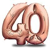 envami Globos de Cumpleãnos 40 Oro Rosas I 101 CM Globo 40 Años I Globo Numero 40 I Decoracion 40 Cumpleaños Mujer I Globos Numeros Gigantes para Fiestas I Vuelan con Helio