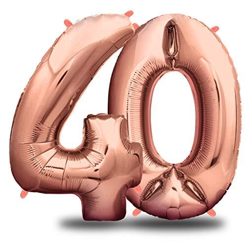 envami Ballon Anniversaire 40 Ans Or Rose I 101 CM Ballon Chiffre I Deco Kit Anniviersaire Fille Femme I Happy Birthday Decoration I Ballon Joyeux Anniversaire I Vole Grâce à l'Hèlium