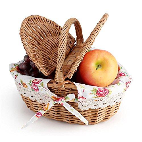 Oval Picknickkorb, Wicker Double Lidded Romantische Picknickkorb für Camping Spielzeug Ablagekorb für Kinder Idee Home Decor Stück
