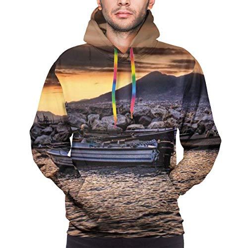 Sudadera con capucha 3D para hombre con capucha para barco amarrado en el mar Sudaderas con capucha pullover 3D colorido impresión moda sudadera con bolsillo Multicolor multicolor XXL