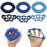 Mano a mano apretón de la energía fortalecedor Set 6pcs agarrador de la mano de silicona anillo de tensión de la mano dedo Camilla Alivio Relax antebrazo muñeca amp dedo entrenamiento de resistencia B