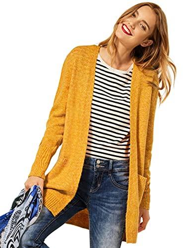 Street One Damen Canice Strickjacke, Knit Sulphur Yellow Melange, 44