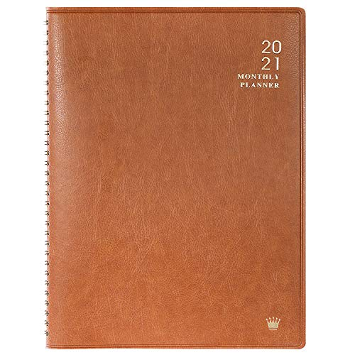 "2021 Monthly Planner - Monthly Calendar/Planner 2021 with Faux Leather, 8.86"" x 11.4"", Jan 2021 - Dec 2021, 15 Note Pages, Twin-Wire Binding, Pocket, Monthly Tabs, Perfect Organizer"