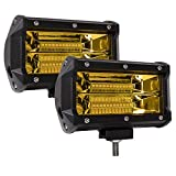 Zmoon LED Light Bar 5 Inch, 2PCS 144W Yellow Fog Led Driving Lights Waterproof Spot & Flood Work Light for Truck Jeep SUV Boat ATV 4WD Car Golf Cart