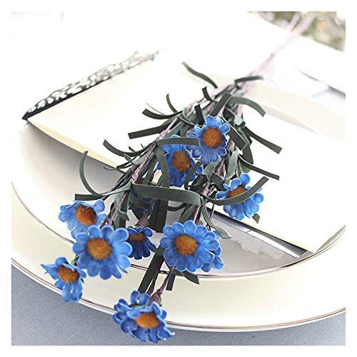 Zxebhsm Künstliche Blumen EIN Bouquet 12 köpfe Nette Silk Daisy künstliche dekorative Blume Hochzeit blumenstrauß Home Tisch Dekoration (Farbe : Tiefe Blau)