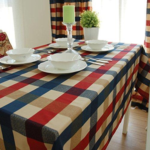 Bao core–Grid mantel rectangular de grosor algodón gamuza de lino de mesa funda para mesa, 65x 140cm, 115x 160cm, algodón, lino, Classic Grid, 95x140 cm