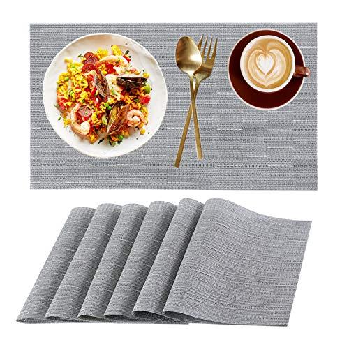 RICHTOP Platzdeckchen-Set, 6 Stück, gewebtes Vinyl, PVC, Wärmedämmung, schmutzabweisend, rutschfest, für Küche, Esstisch, Dekoration, Grau