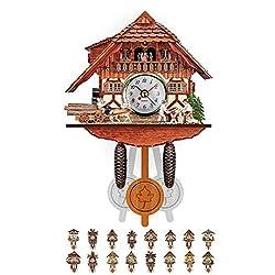 Gran tiend Quartz Cuckoo Clock Black Forest House, Cuckoo Clock Battery Operated Quartz Movement Cuckoo Call with Mobile Beer Drinker 115 × 225 × 50mm,K