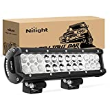 Nilight - NI06A-72W 12Inch 72W Spot Flood Combo Led Light Bar Off Road Lights Boat Lights Fog Light Driving Lights LED Work Light for Trucks,2 Years Warranty