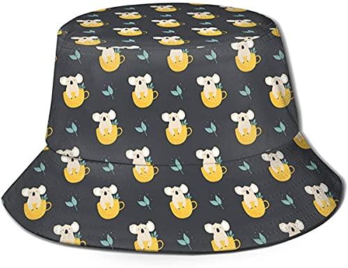 BONRI Eimer Hut Baumwolle Sun Cap Fischerhut Würfel Buchstaben auf einem Holztisch für Männer Frauen-süße Koals in Teetassen-One Size