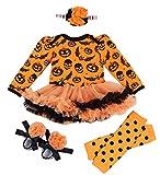 Happy Cherry - 4 Pezzi Set Costume per Halloween Feste Party di Neonata Bambina - Pagliaccetto con Maniche Lunghe - Vestito del Partito - 6-12 Mesi - Arancio - Taglia L