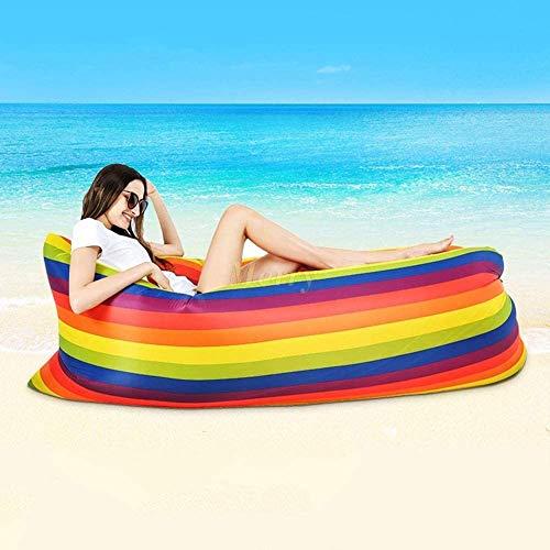ZHANGXJ Portátil Creativo Sofa Hinchable Portátil Tumbona Hinchable Sofa Inflable Cama Hinchable Impermeable Aire Sofá para Exterior Viajes Camping Piscina Playa, Arco Iris Fiestas de Playa