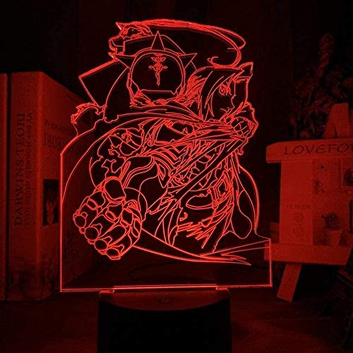 3D-Manga-Lampe, Vollmetall, Alchemist, Edward Elric Figur, Nachtlicht, LED, Farbwechsel, Kinderzimmer, dekoratives Nachtlicht, USB-Schreibtisch, 16 Farben
