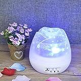 SYQS Romántica proyector de la Estrella de rotación de la lámpara, Brote luz de la Noche de Forma, iluminación multifunción Ambiente, Luz de Despertador Moda White