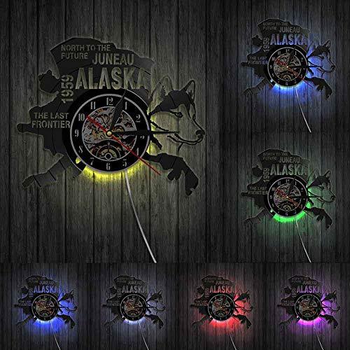The Last Frontier Alaska Decor USA Cityscape Vinilo Record Reloj North To The Future Juneau Moderno Regalo Vintage Alaska Decoración Perro Luces LED