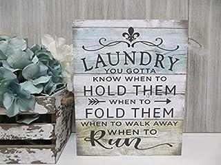 Générique Panneau de buanderie en Bois avec Inscription Laundry.You Gotta Know When to Hold Them, drôle de buanderie, déco...
