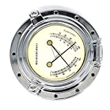 Homyl Barómetro termómetro higrómetro vintage metal regalo universal barco RV náutica – Plata 2