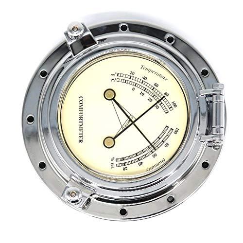 Homyl Barometro Termometro Igrometro Vintage Metallo Regalo Universale Barca RV Nautica - Argento 2
