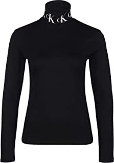 Calvin Klein Jeans Women's MONOGRAM TAPE ROLL NECK LS TEE Other Knit Tops, Black (Ck Black BAE), Small