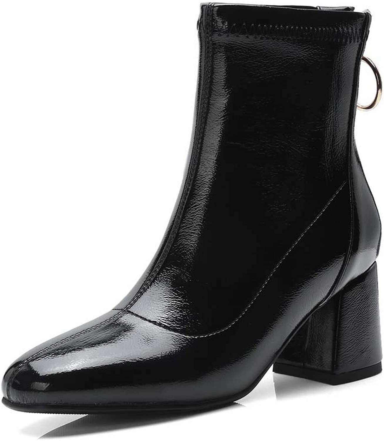 1TO9 Womens Chunky Heels Zipper Patent-Leather Boots MNS03196