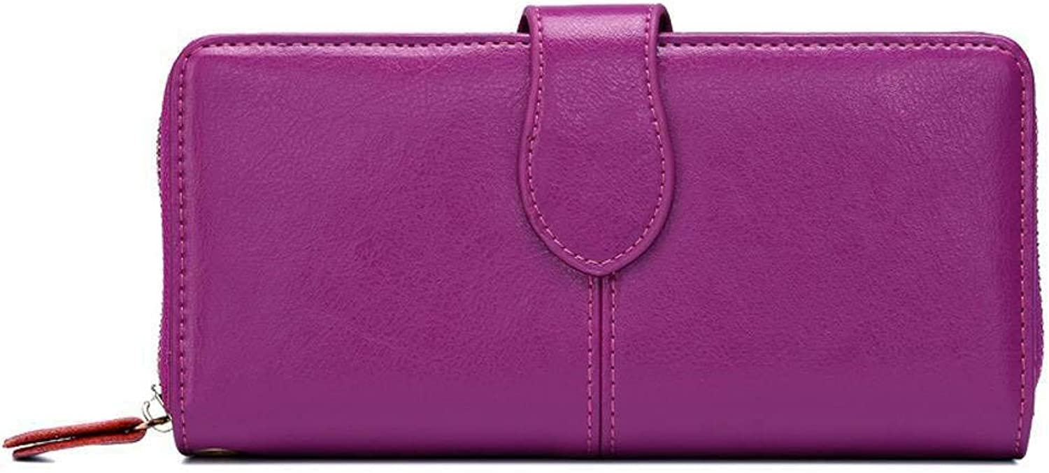 Cross Lady Retro Fashion Simple Practical Zipper Leather Wallet for Work (color   Purple)
