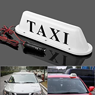 Iztoss white Taxi Cab Roof Top Illuminated Sign Topper Car Bulbs 12V Super Bright Light Magnetic Waterproof Sealed Base with 3m Cable Length