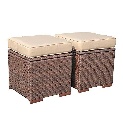 Sundo 2 Lounge Hocker, Fußhocker mit Sitzkissen, Gartenhocker mit Füße, Rattanhocker Geflecht braun, Gartenmöbel 35x38x38 cm