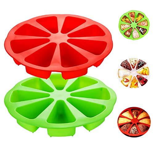 Biluer 2PCS Silikon Backform mit 8 Löchern, Dreieck-Kuchenform Hohlraum Silikonbackformen für Zuhause DIY Konditorei oder Bäckerei(Rot,Grün)