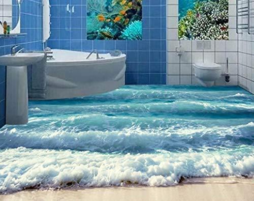 Yosot Benutzerdefinierte 3D Boden Ozean Wellen Tapete 3D Boden Badezimmer Selbstklebende Wasserdichte Tapete Pvc Bodenbelag Klebstoff-200Cmx140Cm