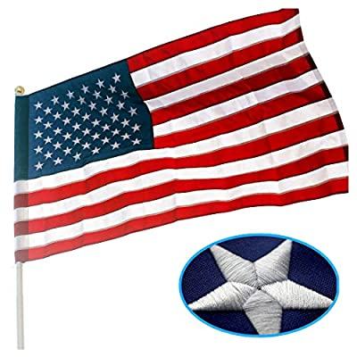 VSVO American Flag Pole Sleeve Banner Style 3x5 Ft - Heavy Duty Outdoor US USA Flags - Embroidered Stars, Sewn Stripes, UV Fading Resistant (Flag Pole is NOT Included)