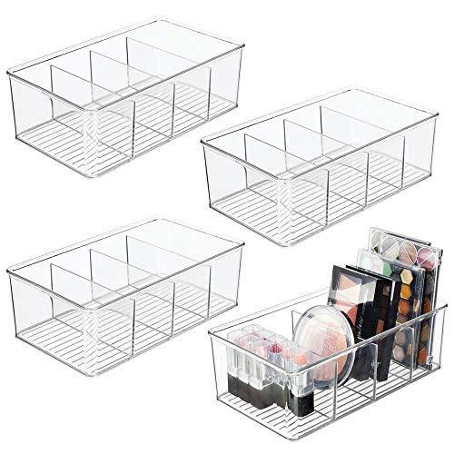 mDesign Juego de 4 organizadores de cosméticos – Cajas de plástico con 4 compartimentos cada una para maquillaje y productos de belleza – Los organizadores de maquillaje ideales – transparente
