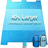 Beach Blanket, Oversized 10'x8' Sand Proof Beach Picnic Blanket Made of 100% Parachute Nylon Anchored with XL Sand Bags - Sky Blue