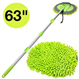 WillingHeart 63' Car Wash Mop Brush Tool Mitt with Long Handle Length More Suitable for Washing American Cars Truck, SUV, RV, Trailer, 2 in 1 Chenille Microfiber Duster Not Hurt Paint Scratch Free