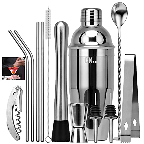 CKductpro Cocktail Shaker Set,550ml Bartender Kit,Professional Bar Tools,Stainless Steel Cocktail Shaker Set Bartender Kit,Mixing Spoon,Muddler,Measuring Jiggerwith All Bar Accessories,Gift(13pcs)